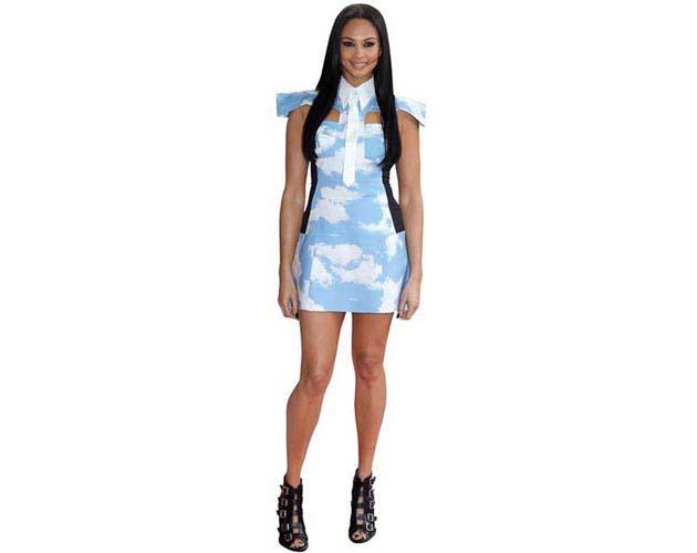 A Lifesize Cardboard Cutout of Alesha Dixon wearing a short dress