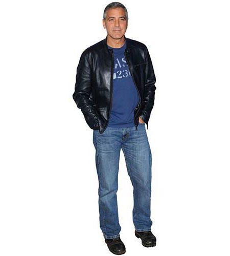 A Lifesize Cardboard Cutout of George Clooney wearing a leather jacket