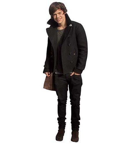 A Lifesize Cardboard Cutout of Harry Styles wearing a coat
