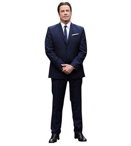 A Lifesize Cardboard Cutout of John Travolta wearing suit and tie
