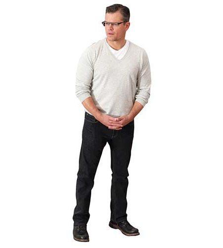 A Lifesize Cardboard Cutout of Matt Damon wearing glasses
