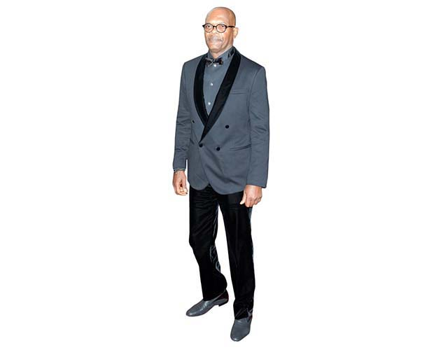 A Lifesize Cardboard Cutout of Samuel L Jackson wearing a blue tuxedo