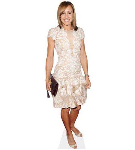 A Lifesize Cardboard Cutout of Jessica Ennis wearing a white dress