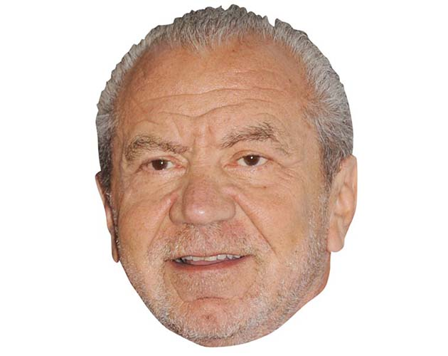 A Cardboard Celebrity Mask of Alan Sugar