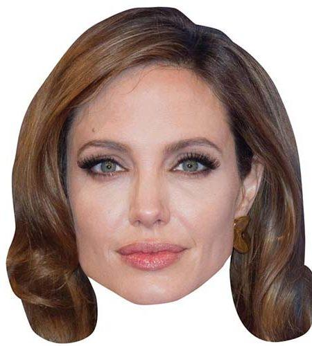 A Cardboard Celebrity Mask of Angelina Jolie