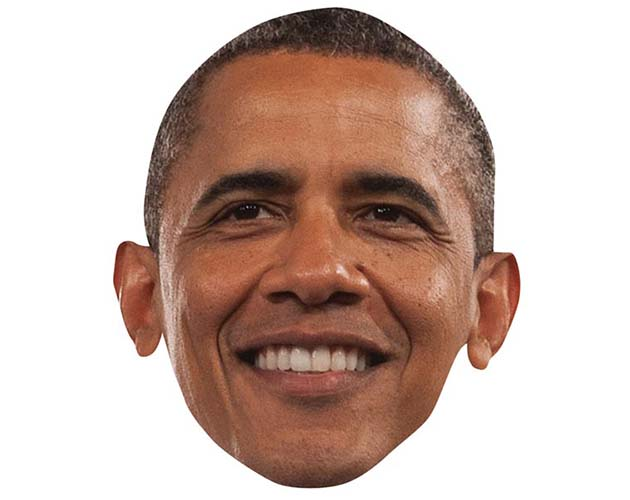 A Cardboard Celebrity Mask of Barak Obama
