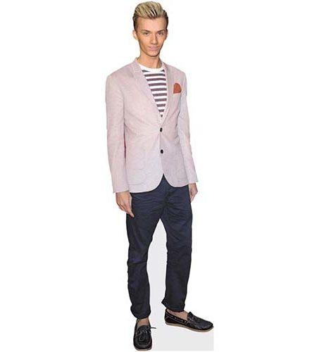 A Lifesize Cardboard Cutout of Harry Derbidge wearing a pink jacket