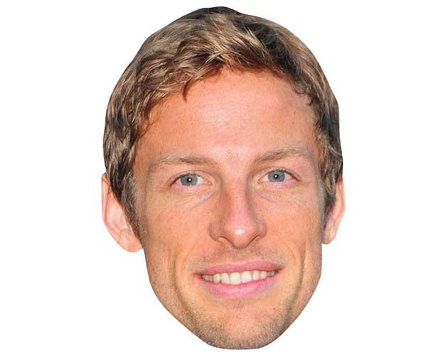 A Cardboard Celebrity Mask of Jenson Button