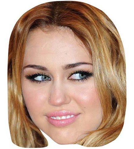 A Cardboard Celebrity Mask of Miley Cyrus