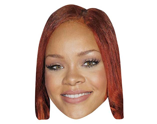 A Cardboard Celebrity Mask of Rihanna