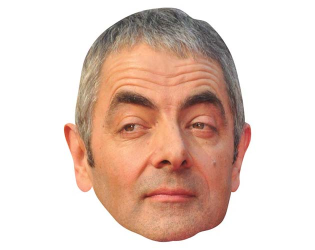 A Cardboard Celebrity Mask of Rowan Atkinson