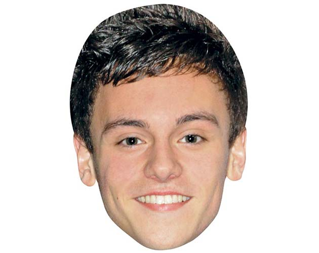 A Cardboard Celebrity Mask of Tom Daley
