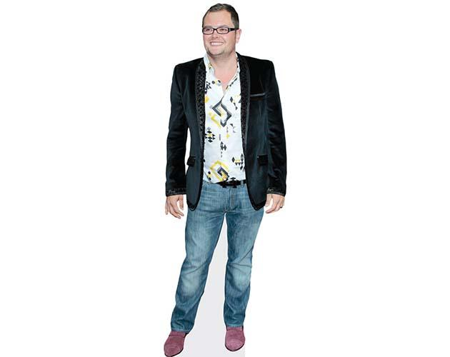 A Lifesize Cardboard Cutout of Alan Carr wearing a blazer and jeans