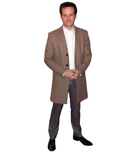 A Lifesize Cardboard Cutout of Andrew Scott wearing a trench coat