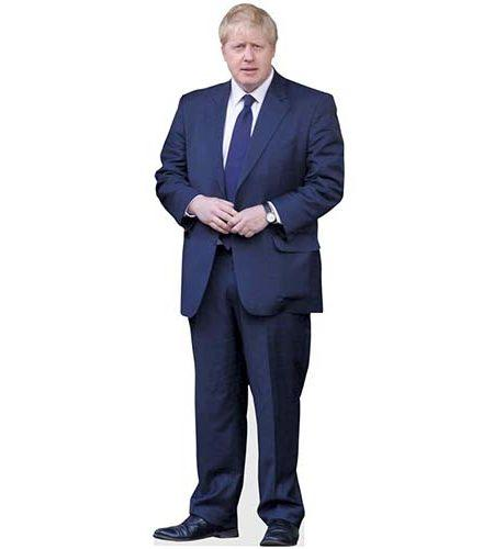 A Lifesize Cardboard Cutout of Boris Johnson wearing a blue suit
