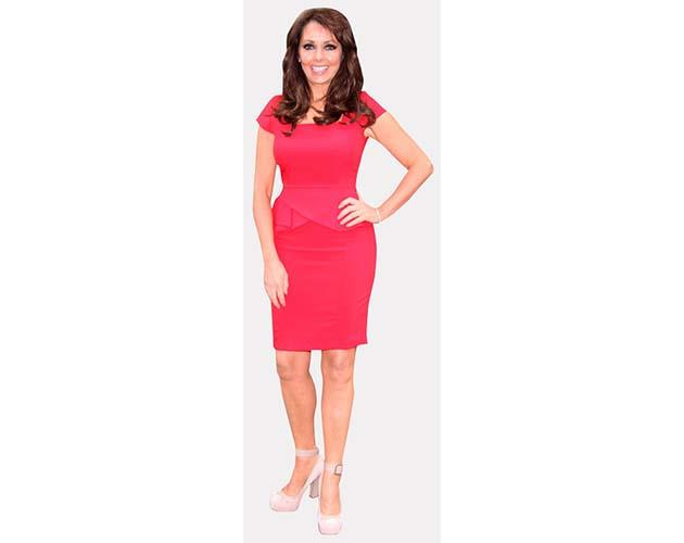 A Lifesize Cardboard Cutout of Carol Vorderman wearing a red dress