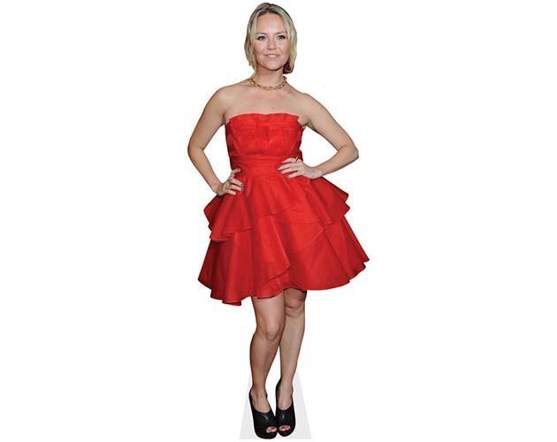 A Lifesize Cardboard Cutout of Charlie Brooks wearing a red dress