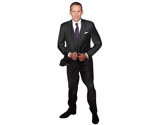 A Lifesize Cardboard Cutout of Christopher Ecclestone wearing a dark suit and tie
