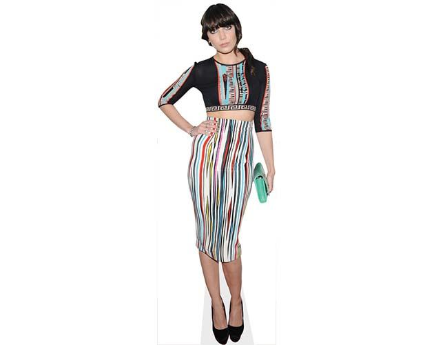 A Lifesize Cardboard Cutout of Daisy Lowe wearing a stripy dress