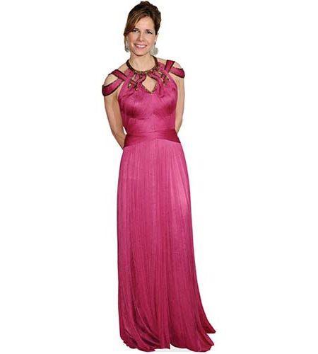 A Lifesize Cardboard Cutout of Darcey Bussell wearing a long pink dress