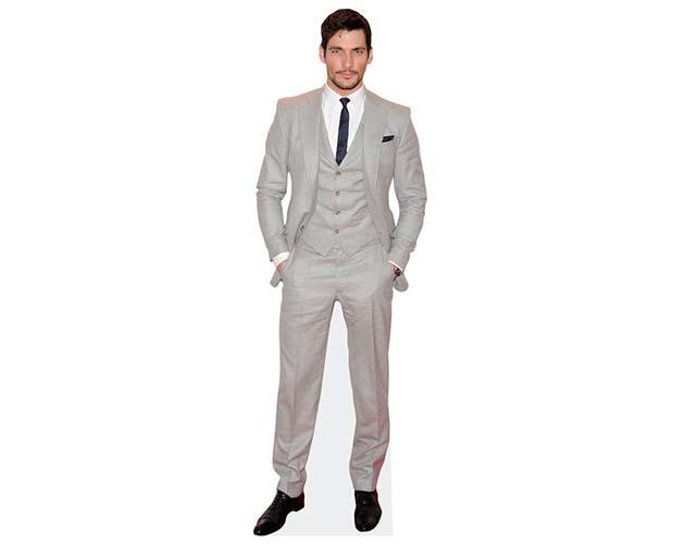 A Lifesize Cardboard Cutout of David Gandy wearing a pale suit