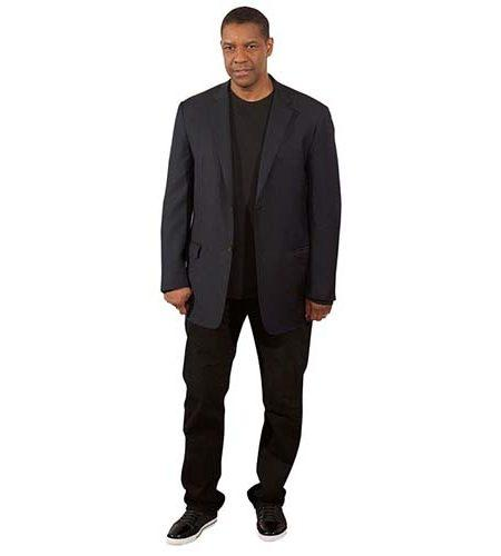 A Lifesize Cardboard Cutout of Denzel Washington wearing dark clothes