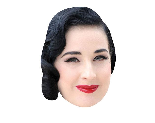 A Cardboard Celebrity Mask of Dita Von Teese