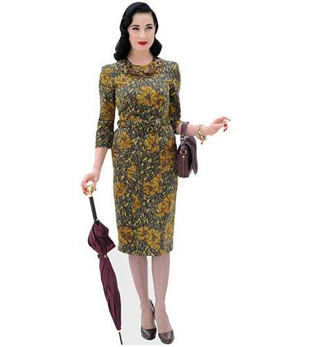 A Lifesize Cardboard Cutout of Dita Von Teese wearing a floral dress