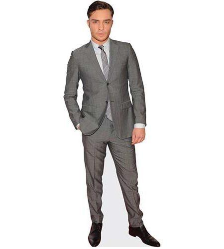 A Lifesize Cardboard Cutout of Ed Westwick wearing a grey suit