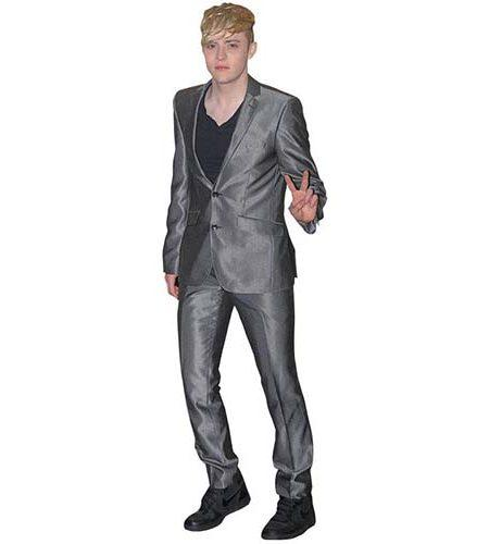 A Lifesize Cardboard Cutout of Edward Grimes wearing a silver suit