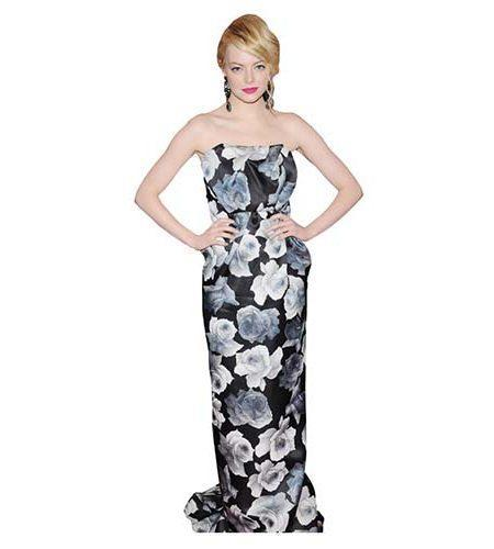 A Lifesize Cardboard Cutout of Emma Stone wearing a long dress