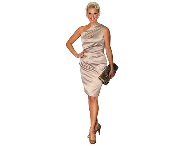 A Lifesize Cardboard Cutout of Faye Tozer wearing a shiny dress