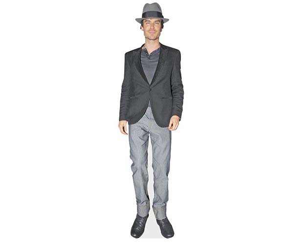 A Lifesize Cardboard Cutout of Ian Somerhalder wearing a hat