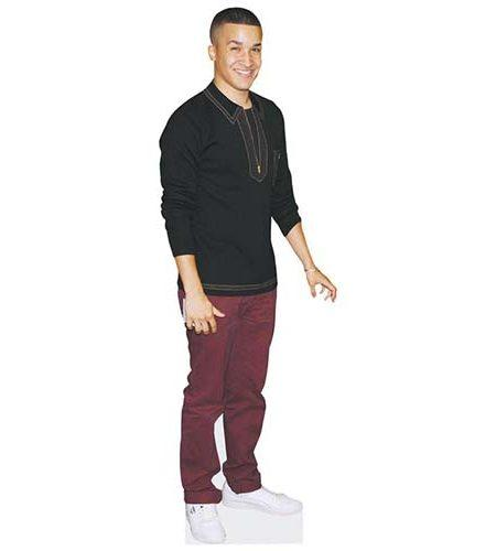 A Lifesize Cardboard Cutout of Jahmene Douglas wearing purple trousers