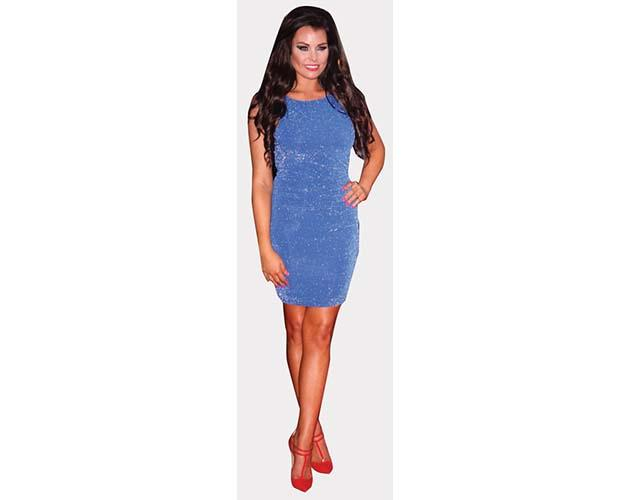 A Lifesize Cardboard Cutout of Jessica Wright wearing a short blue dress