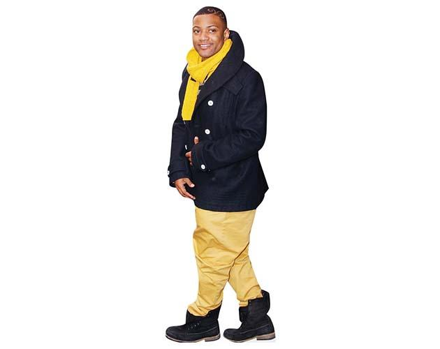 A Lifesize Cardboard Cutout of Jonathan 'JB' Gill wearing boots and a scarf