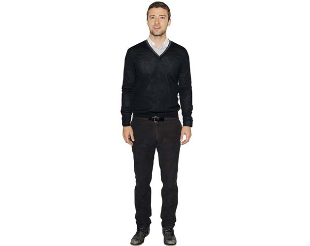 A Lifesize Cardboard Cutout of Justin Timberlake wearing black jumper