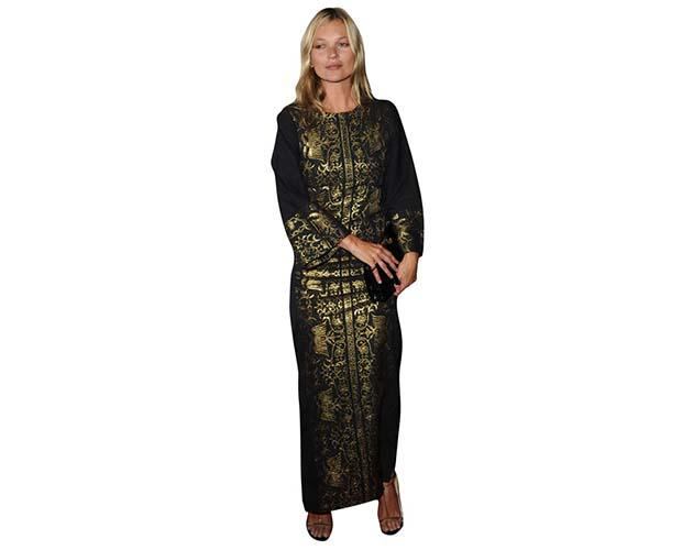 A Lifesize Cardboard Cutout of Kate Moss wearing an ethnic outfit