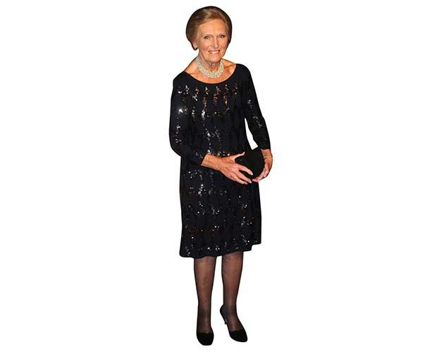 A Lifesize Cardboard Cutout of Mary Berry attending an event