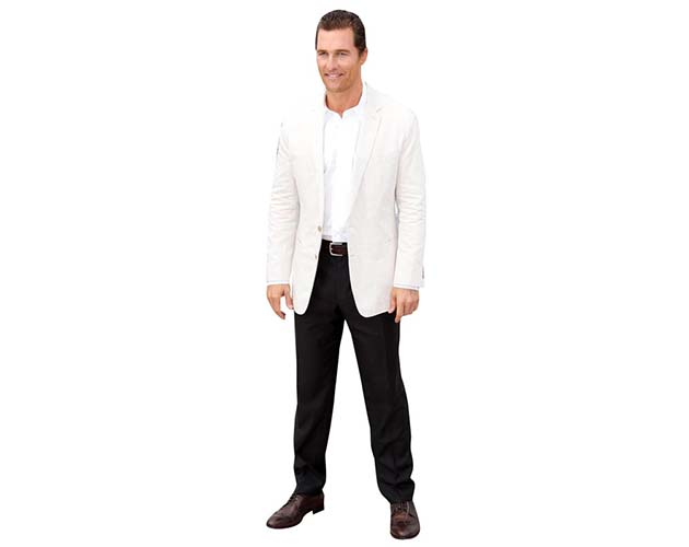 A Lifesize Cardboard Cutout of Matthew McConaughey wearing a white blazer