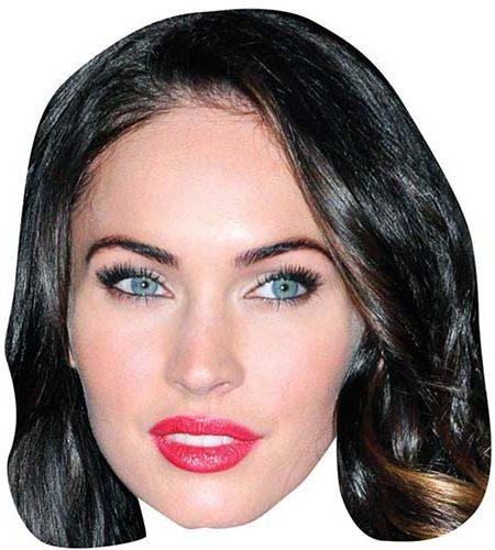 A Cardboard Celebrity Mask of Megan Fox