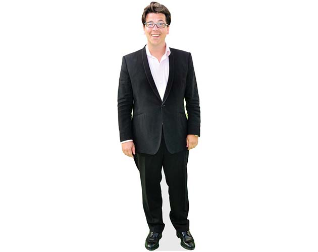 A Lifesize Cardboard Cutout of Michael McIntyre wearing a black suit