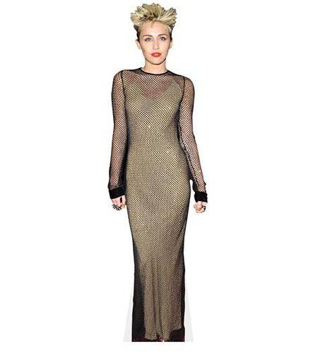 A Lifesize Cardboard Cutout of Miley Cyrus with a rock image