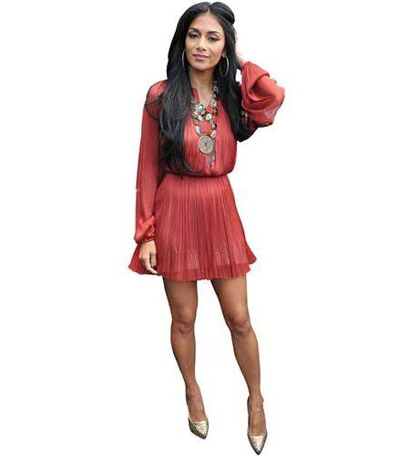 A Lifesize Cardboard Cutout of Nicole Scherzinger wearing a short red dress