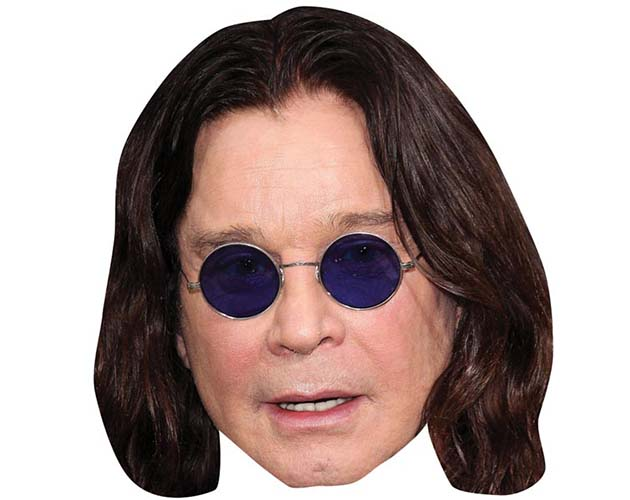 A Cardboard Celebrity Mask of Ozzy Osbourne