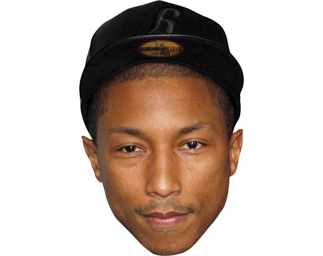 A Cardboard Celebrity Mask of Pharrell Williams