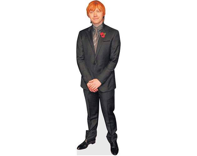 A Lifesize Cardboard Cutout of Rupert Grint wearing a red buttonhole