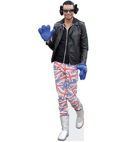 A Lifesize Cardboard Cutout of Rylan Clark wearing earmuffs