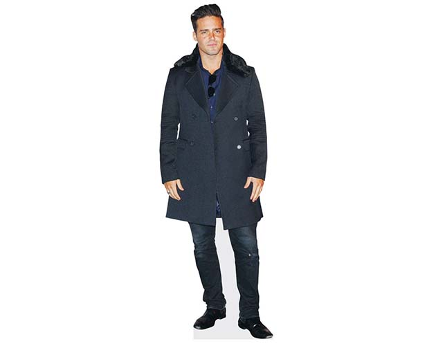 A Lifesize Cardboard Cutout of Spencer Matthews wearing a coat