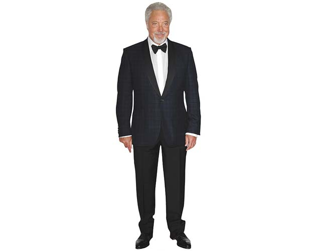 A Lifesize Cardboard Cutout of Tom Jones wearing a bowtie